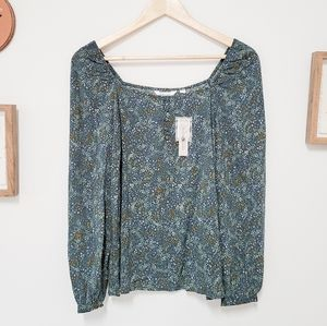 NWT Signature by Reitmans Green Floral Blouse